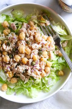 This quick and easy Chickpea Tuna Salad with capers is perfect for lunch! Healthy and filling, loaded with protein and Omega 3s.