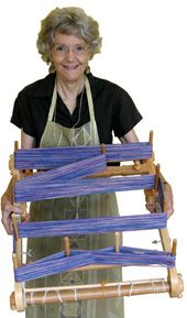 Showing how you can measure your warp on the back of the loom.
