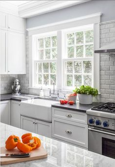 trendy kitchen window over sink countertops Shaker Style Cabinets, White Kitchen Cabinets, Kitchen Colors, Kitchen Backsplash, Kitchen Countertops, Soapstone Countertops, Kitchen White, Backsplash Ideas, Beadboard Backsplash
