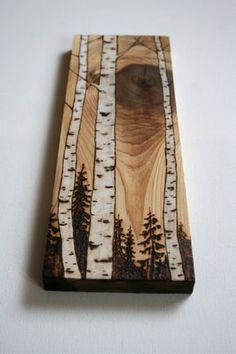 The Fading Light Birch Trees Wood Art Wood burning