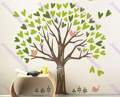 Loving tree decal :wall decals, vinyl wall decal, wall stickers,nursery wall stickers,tree wall decals,tree and birds wall art, on Etsy, $66.00 Nursery Wall Stickers, Kids Wall Decals, Bird Wall Art, Tree Wall, Cute Furniture, Tree Decals, Knobs And Knockers, Diy Garden Decor, Home And Living