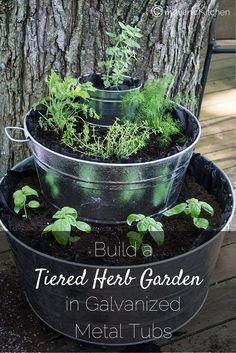 Build a Tiered Herb Garden in Galvanized Metal Tubs (1)