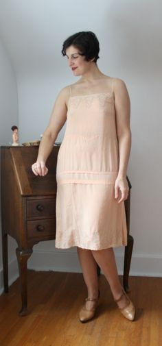 1920s Peach Silk and Lace Monogrammed Slip