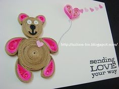 Lin Handmade Greetings Card: Quilled pink teddy bear