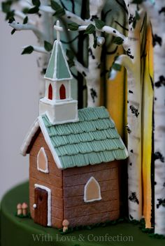 With Love & Confection: My Cake Central Magazine Cover Cake. Tiny gingerbread chapel. Designed and created by Veronica Arthur.