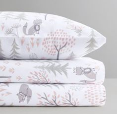 RH Baby & Child's Dotted Flannel & Forest Fox Flannel Bedding Collection:Our bedding's playful take on the classic polka dot features white dots in various sizes scattered randomly across soft cotton flannel.