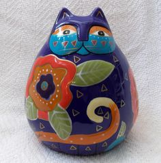 Laurel Burch Cat Ceramic Floral Cat Bank, NEW FREE SHIPPING | eBay