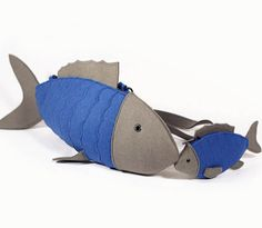 Blue Felt Set Of Two Fishes