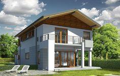 Projekt Lugano to dom jednorodzinny dla rodziny cztero-pięcioosobowej. Piętrowy budynek przykryty został dwuspadowym symetrycznym dachem z dachówki ceramicznej. Dom ma nowoczesny charakter, zaprojektowany został z przeznaczeniem dla wąskich działek, na których budynek musi mieć formę długiego wąskiego prostopadłościanu. Część garażowa parterowa została wyciągnięta przed główną bryłę budynku, urozmaicając w ten sposób część frontową.