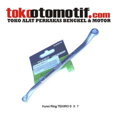 Kode : 01001000301 Nama : Kunci Ring Merk : TEKIRO Tipe : 6 X 7 mm Status :  Siap Berat Kirim : 1 kg Material : Chrome Vanadium