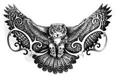 Tattoo Designs, Owl Tattoo Design, Sketch Tattoo Design, Side Neck Tattoo, Back Of Shoulder Tattoo, Owl Tattoo Drawings, Tattoo Sketches, Lotus Tattoo Men, Body Art Tattoos