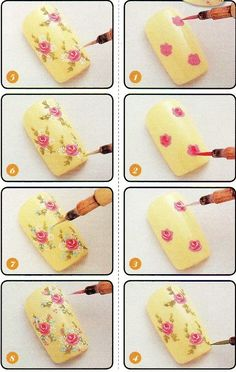 19 Diseños de Uñas de Flores - Paso a Paso - ε Diseños e Ideas originales para Decorar tus Uñas з
