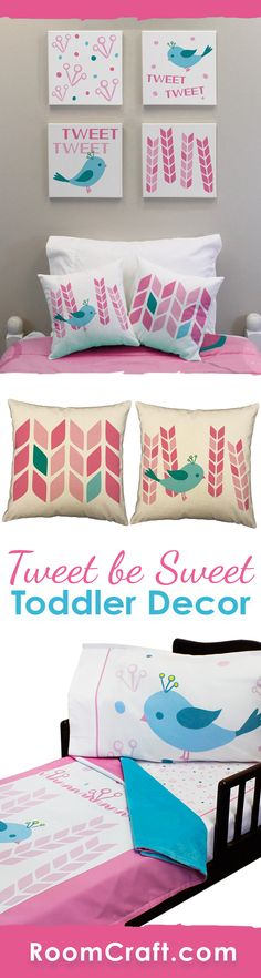 Tweet.. Tweet! Surprise your little one with these adorablely sweet bird toddler bedding and room decorations. They can cuddle up with the super soft minky blanket on their coordinating fitted sheet and pillowcase. The cute throw pillows are perfect for them to relax against in a window seat or reading corner. And complete the look with some adorable wall art canvases. Our Tweet be Sweet toddler collection makes decorating fun and easy! #roomcraft