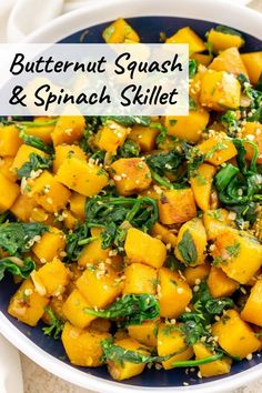 Butternut Squash Spinach Skillet - tasty, healthy, nutritious, vegan / vegetarian, and ready in just 20 minutes. You'll LOVE the flavors of this pan-fried butternut squash recipe with baby spinach. Butternut Squash Side Dish, Vegan Butternut Squash Recipes, Chickpea Recipes, Vegetarian Recipes, Healthy Recipes, Vegan Vegetarian, Easy Squash Recipes, Soup Recipes, Healthy Side Dishes