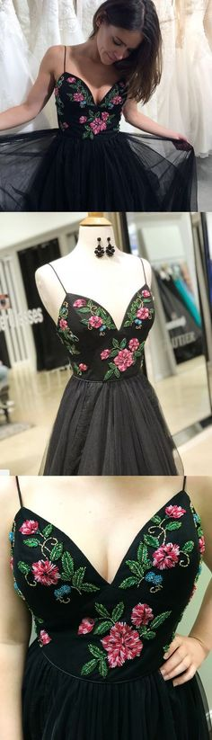 floral prom dress,a-line prom dresses,straps prom gown,long prom dress,black party dress,tulle prom dresses