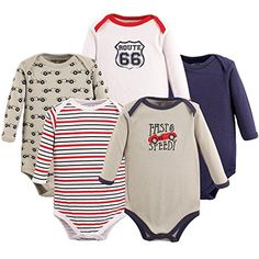 Luvable Friends 5 Pack Long Sleeve Bodysuit. Speedy, 0-3 Months - Brought to you by Avarsha.com