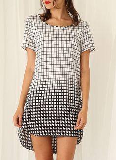 White Black Plaid High Low Dress 25.98