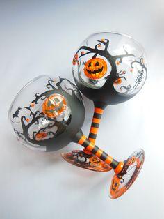Halloween Pumpkin and Bats Orange and Black by ElvenBells $24.99