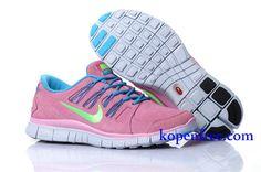 Goedkoop Schoenen Nike Free 5.0 + Dames (kleur:vamp-pink;binnen-blauw;logo-groen;zool-wit) Online Winkel.