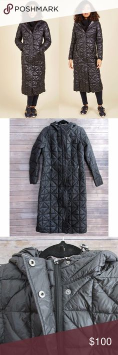 Steve Madden Black Long Length Quilted Coat ***Item Ships with Signature Confirmation***  Black long length coat with a pull cinch at the waist and hood. Has an interesting geometric pattern with a gunmetal gray lining. The hood is not removable. This coat is lightweight but was made for protection against rain, sleet, and snow.  Would definitely recommend for colder climates.  Condition: NWT Type: Coat Style: Long Length Bubble Brand: Steve Madden Size: L Materials: Nylon, Polyester…