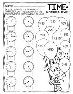 Telling Time to the 5 minutes Differentiated by Elementary Island Creative Activities For Kids, Math For Kids, Kindergarten Math Worksheets, Math Resources, Elementary Education Activities, Primary Education, Time To The Hour, Math Problem Solving, Teaching Time