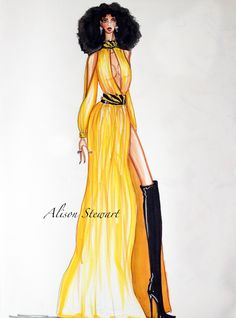 Pam Grier inspired design and sketch by Alison Stewart