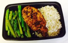 Blackened Chicken with Asparagus and Brown Rice