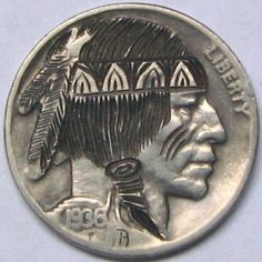 RUTH BORM HOBO NICKEL - PROUD INDIAN BRAVE - 1936 BUFFALO PROFILE Hobo Nickel, Metal Clay Jewelry, Brave, Buffalo, Cactus, Coins, Carving, Profile, Indian