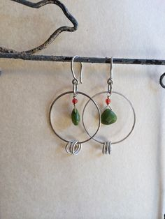 Hand Hammered Hoop Dangles by ZammaDesigns on Etsy