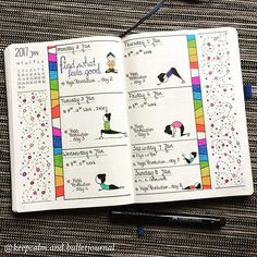 • Full view on last week's spread. #yoga #yogawithadriene #yogarevolution #namaste • Doodles are not mine, I copies them into my journal from google images. • #bulletjournal #bujo #creativejournaling #leuchtturm1917 #fabercastell #staedtlerpens #stabilopens