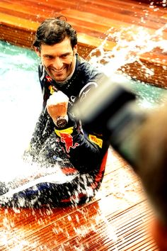 Race winner Mark Webber (AUS) Red Bull Racing climbs from the Energy Station… Red Bull Racing, F1 Racing, Monte Carlo, Types Of Races, Mark Webber, Sports Wall, Monaco Grand Prix, F1 Drivers, Race Day