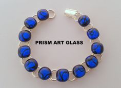 Stunning Azure Blue and Black Dichroic Glass Link by prismartglass, Dichroic Glass, Glass Art, Unique Jewelry, Handmade Gifts, Link, Blue, Etsy, Kid Craft Gifts, Jar Art