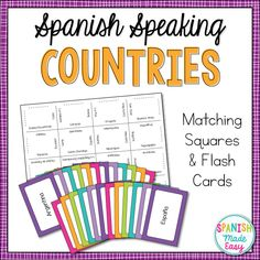 This is a matching squares puzzle and a set of flash cards over the 21 Spanish-speaking countries and capitals. This is a great hands-on activity for level I and II Spanish students when learning or reviewing the Spanish-speaking countries and capitals.