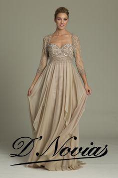 Vestido corte imperio con detalle de piedreria y amplia falda de chifon.