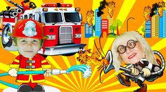 Little heroes firefighters to the rescue! Fire truck cartoon.Little hero...