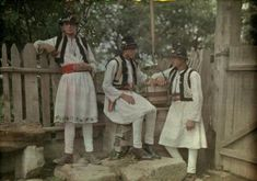 vintage everyday: 27 Rare and Fascinating Color Photographs of Romania in the 1930 - Three teenage boys pose next to a fence in their Sunday costumes. Folk Clothing, Extraordinary People, Boy Poses, Vogue Covers, Vintage Photographs, World Cultures, Old Photos, 1930s, The Past