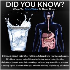 After waking up: Drink one glass of water after waking up to help activate your internal organs. The water will help to remove any toxins… Health Facts, Health Diet, Health And Nutrition, Health And Wellness, Health Fitness, Fitness Facts, Holistic Wellness, Natural Health Remedies, Herbal Remedies