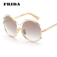 Frida Women Oversized Luxury Circle Street Snap Reflective Round Sunglasses