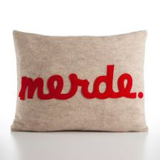 """MERDE - recycled felt applique pillow 14"""" x 18"""" - more colors available"""