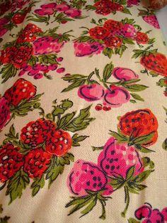 vintage 70s very berry cherry fabric screen print cotton