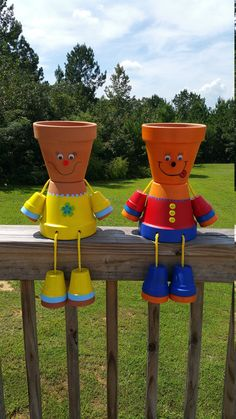 Outdoor decorative flower pot people planters, made to order while each pot person will be very similar they are hand painted Flower Planter