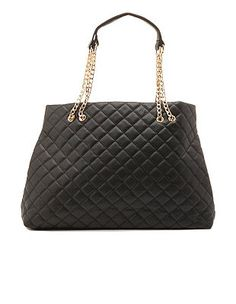 Chain Strap Quilted Tote Bag: Charlotte Russe