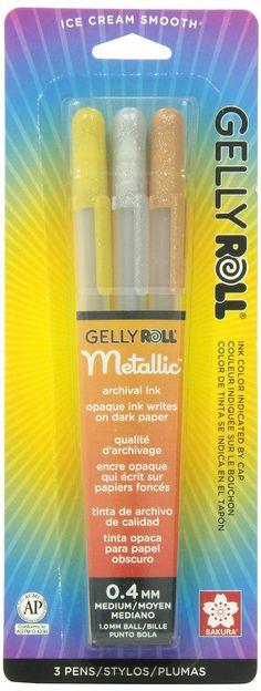 Gelly Roll Sakura 57387 Blister Card Assorted Colors Metallic Gel Ink Pen Set, Multicolor, 3-Piece: Luscombe G: Amazon.ca: Home & Kitchen