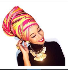 Love that colorful turban with black turtle neck & gold statement necklace African Dresses For Women, African Attire, African Women, Ghanaian Fashion, African Fashion, Nigerian Fashion, African Style, Head Wrap Scarf, Head Scarfs