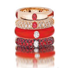Diamond Bracelets Adolfo Courrier Classic Lipstick 18 Karat Rose Gold, Enamel, Red Sapphire, & Diamond Stack Ring Set Rate this from 1 to Diamond Jewelry Rings, Jewelry Accessories, Fine Jewelry, Jewelry Design, Red Jewelry, Red Sapphire, Bling, Schmuck Design, Mode Inspiration
