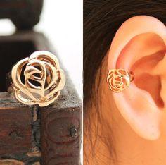 Golden Rose Single Ear Cuff | LilyFair Jewelry, $9.99!