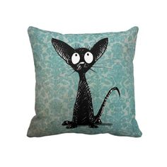 Black Cat on Vintage Blue Damask Throw Pillows from StrangeStore #strangestore #cats