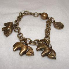 Women's Handmade 7.5 inch 3 Little Horses Brozne Bracelet #Handmade #Charm