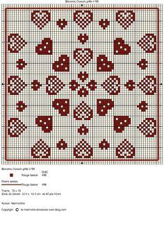 Hearts cross stitch chart