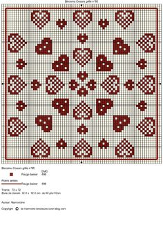 Heart biscornu cross-stitch chart - free